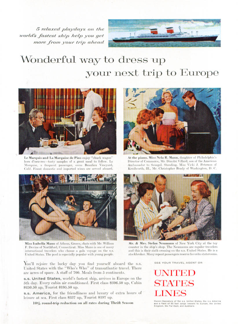 Image for Dress up your next trip S S United States ad 1961