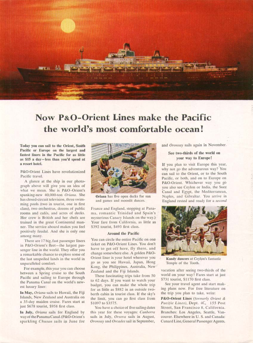 Image for World's most comfortable P&O-Orient S S Oriana 1961 ad