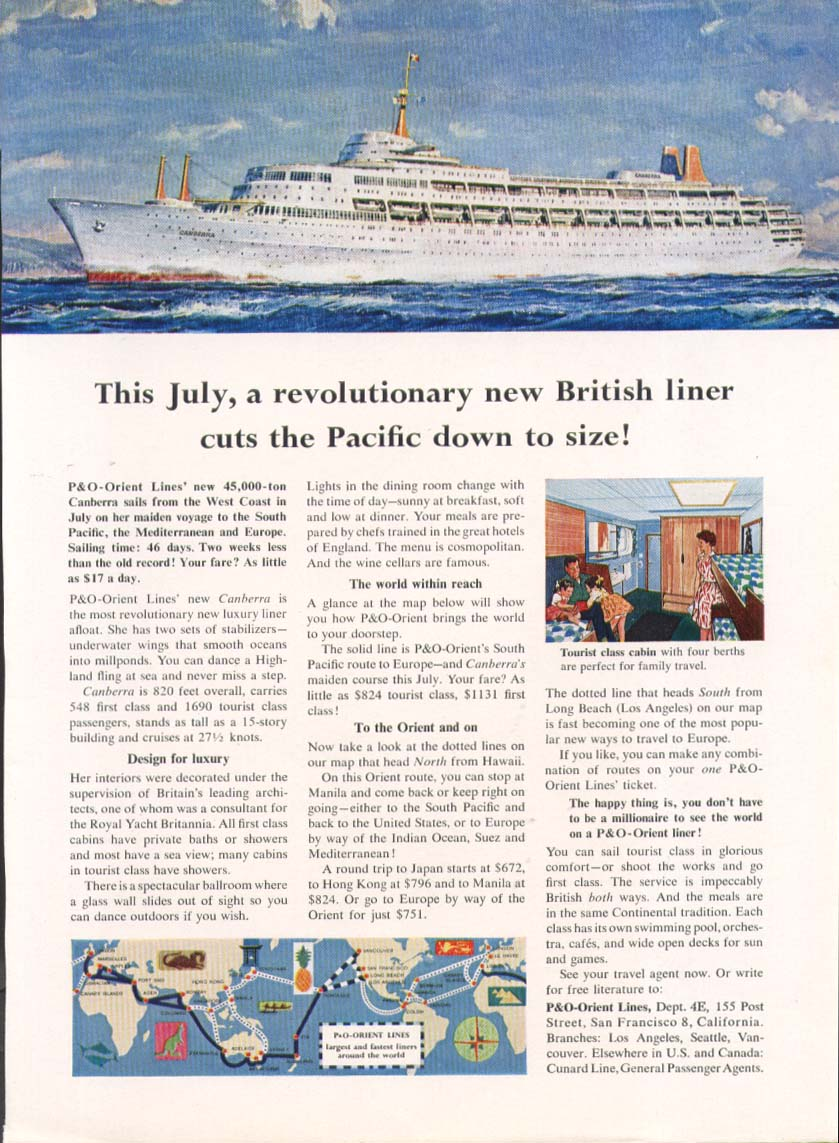In July P&O-Orient S S Canberra cuts Pacific down 1961