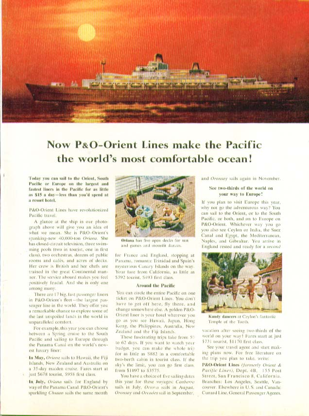 Image for P&O-Orient Lines make Pacific world's most comfortable ocean ad 1961