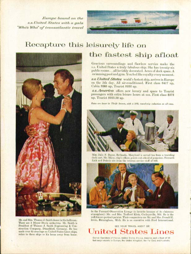 Recapture this leisurely life on S S United States ad 1961