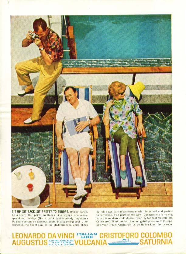 Image for Sit Up Sit Back Sit Pretty to Europe Italian Line ad 1961