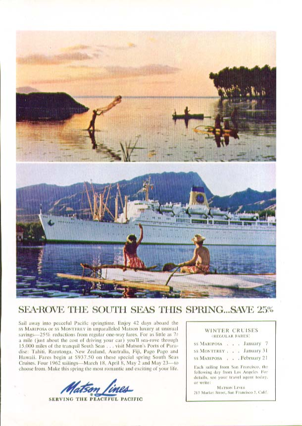 Image for Sea-rove the South Seas this Spring Save 25% S S Monterey Matson Lines ad 1961