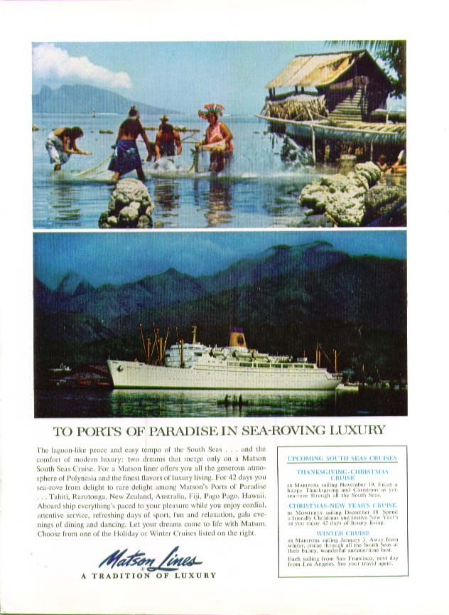 Image for To ports of paradise in sea-roving luxury S S Monterey Matson Lines ad 1961
