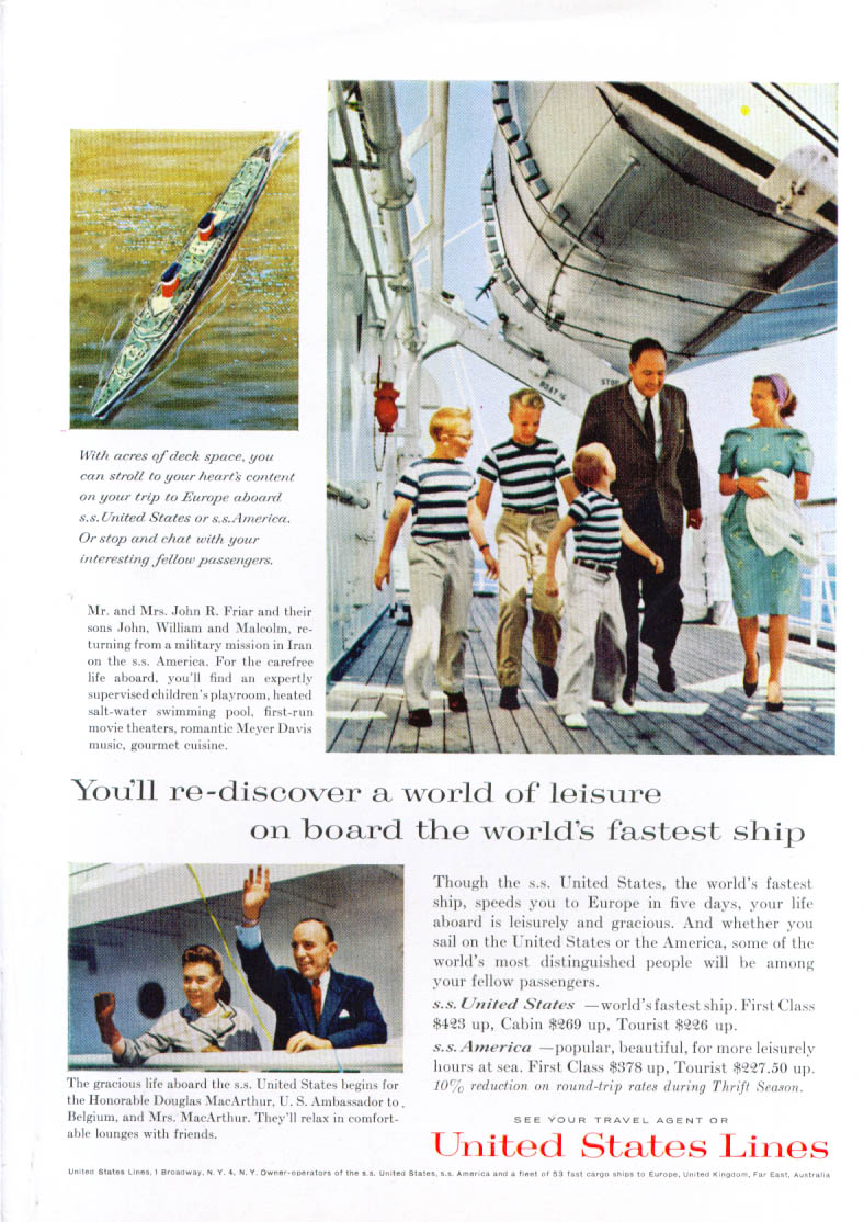 Image for Re-discover world of leisure S S United States ad 1962