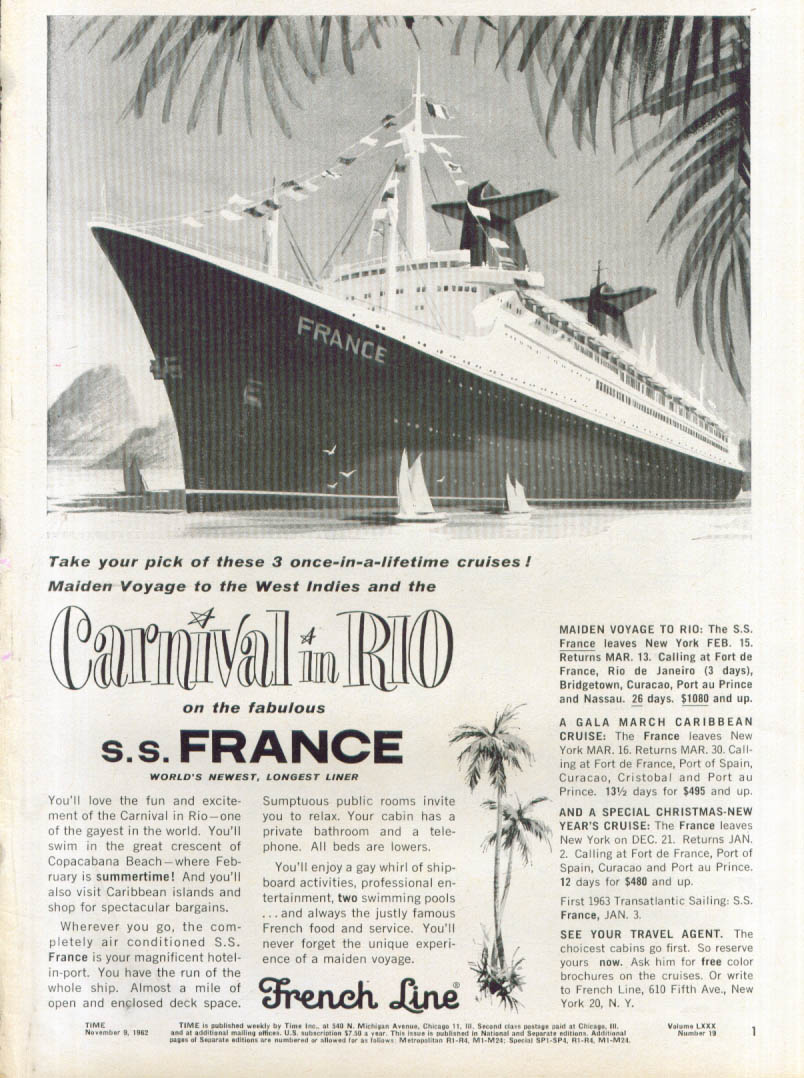 Carnival in Rio on S S France French Line ad 1962