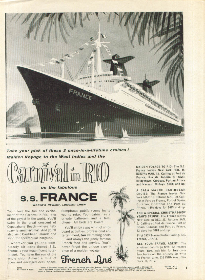 Image for Carnival in Rio on the Fabulous S S France ad 1962