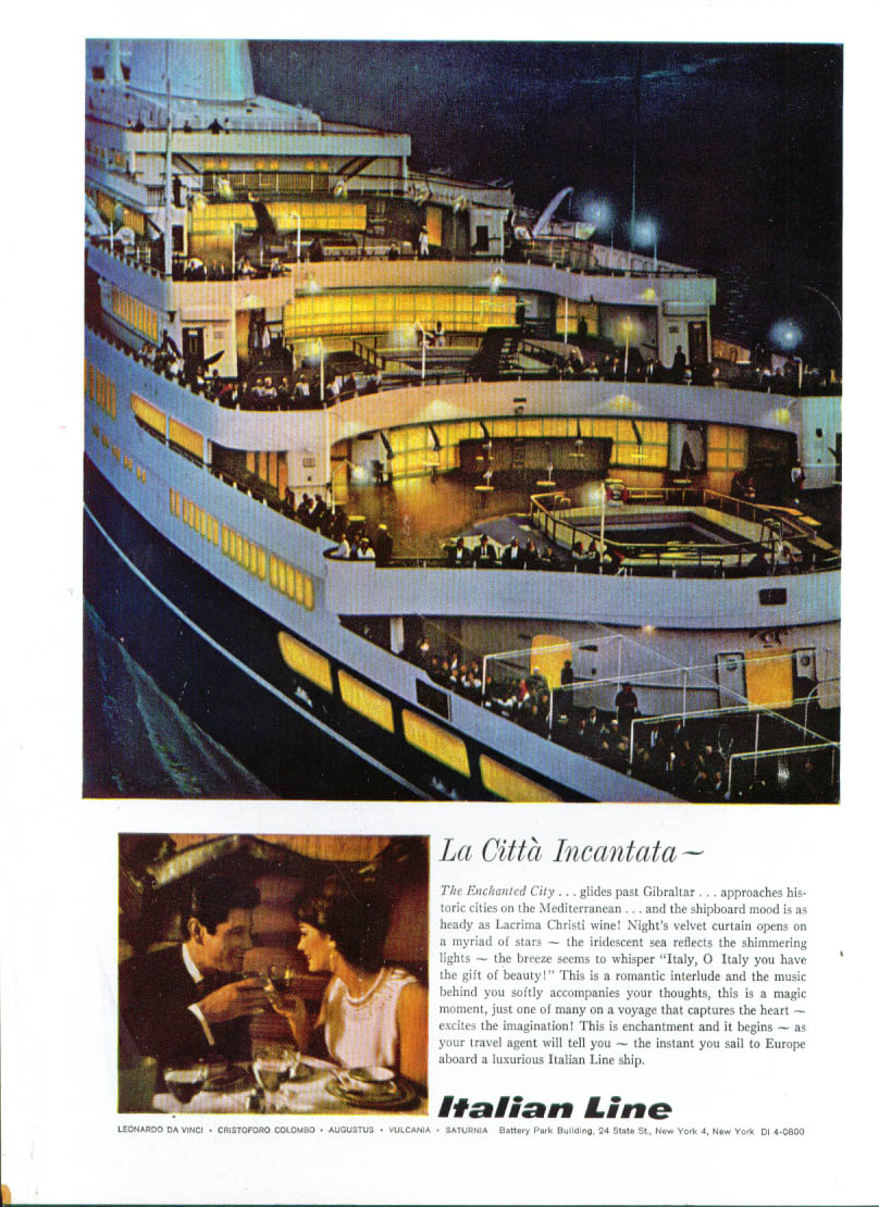 Leni Italy  city photo : Title La Citta Incantata Italian Line ad 1962