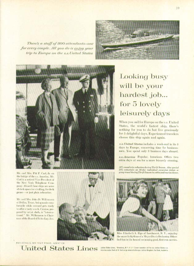 Looking busy will be your hardest job S S United States ad 1962