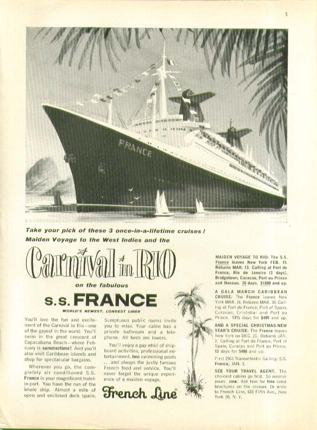 Carnival in Rio on the S S France French Line ad 1962