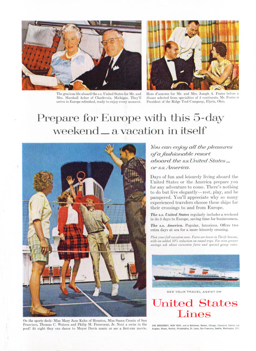 Image for Prepare for Europe on S S United States ad 1963