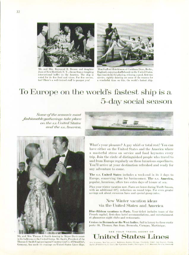 To Europe is a 5-day social season on S S United States ad 1963