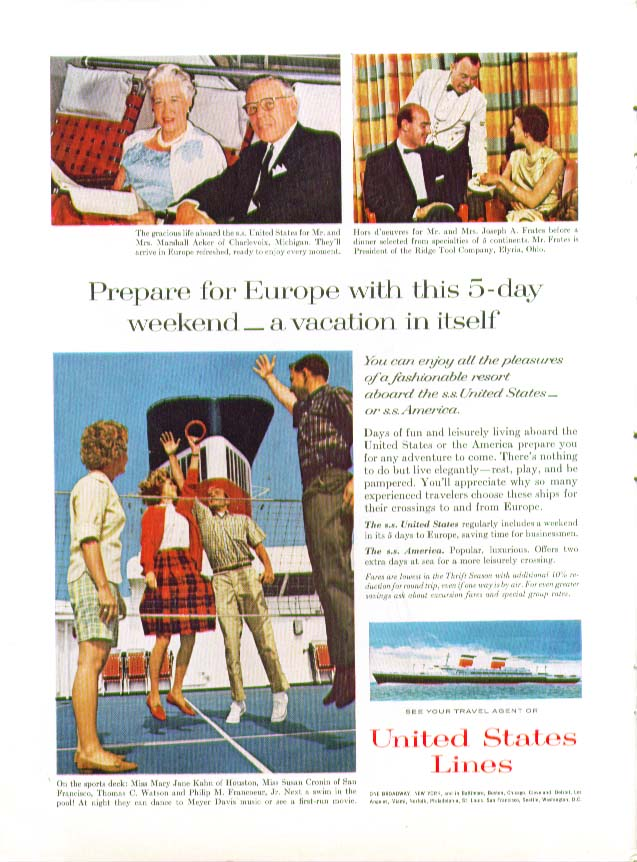 Prepare for Europe with this 5-day weekend S S United States ad 1963