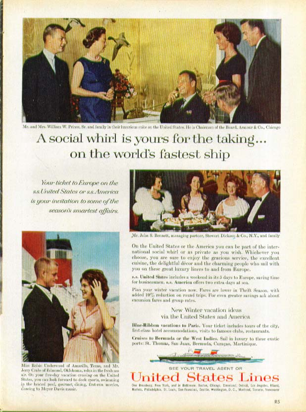 A social whirl is your for the taking S S United States ad 1963