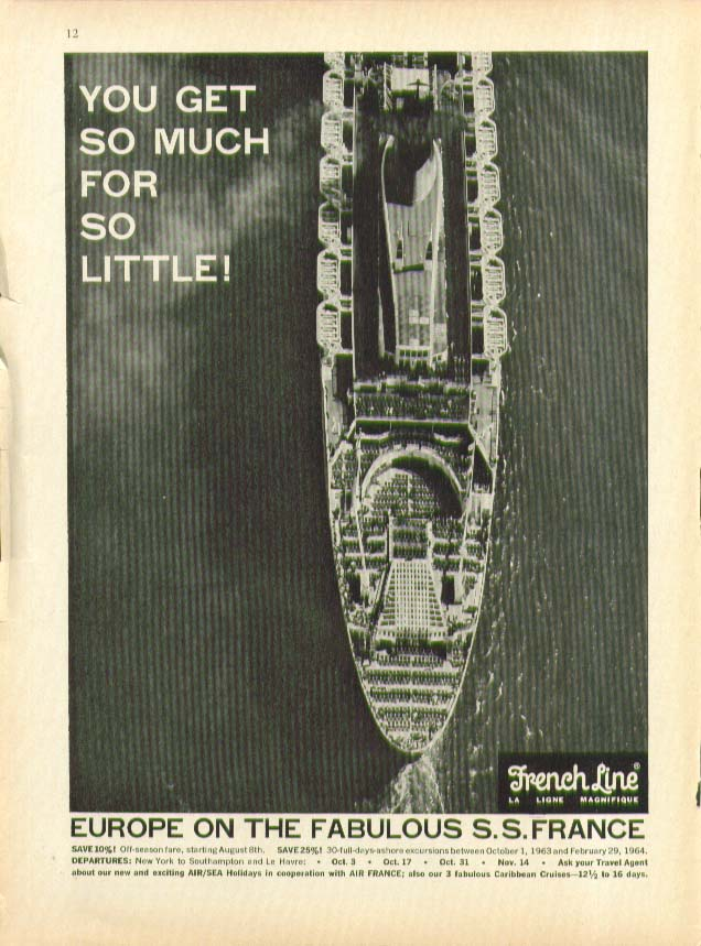 Image for So much for so little Europe on the Fabulous S S France French Line ad 1963