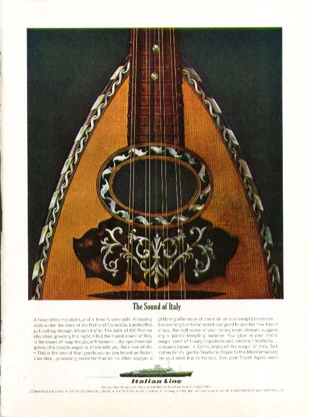 Image for The Sound of Italy S S Leonardo Da Vinci Italian Line ad 1963