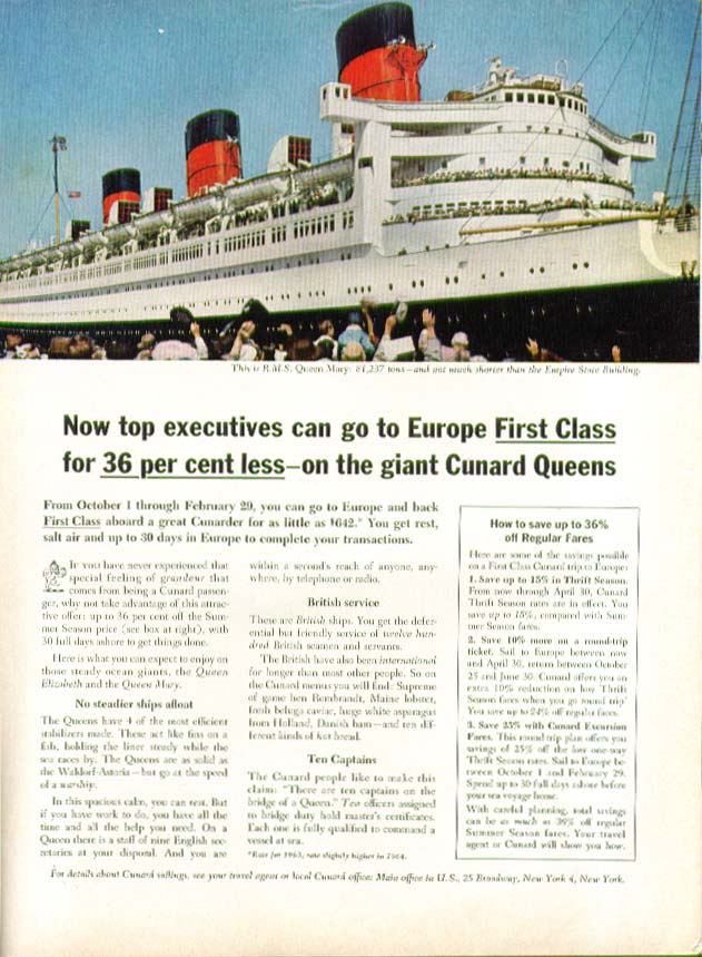 Image for Now top executives can go to Europe First Class R M S Queen Mary Cunard ad 1963