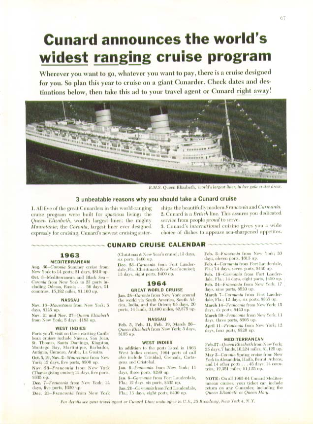 Image for World's widest ranging cruise program R M S Queen Elizabeth Cunard ad 8 1963