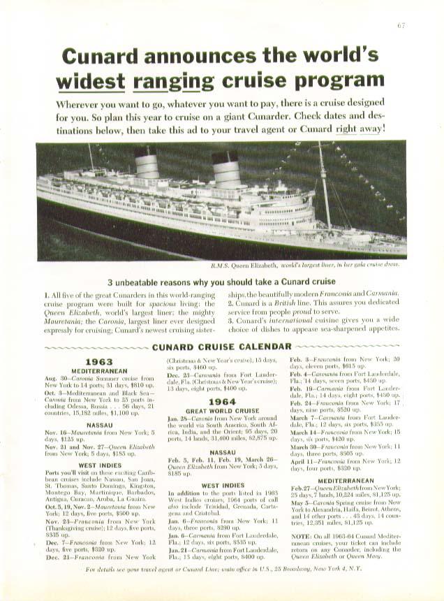 World's widest ranging cruise program R M S Queen Elizabeth Cunard ad 8 1963