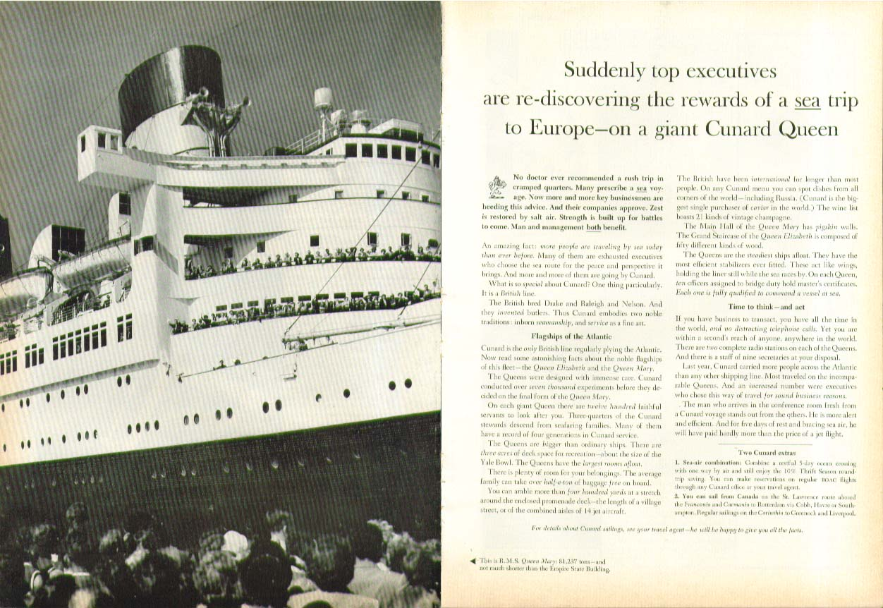 Image for Suddenly top executives are re-discovering R M S Queen Mary Cunard ad 1963