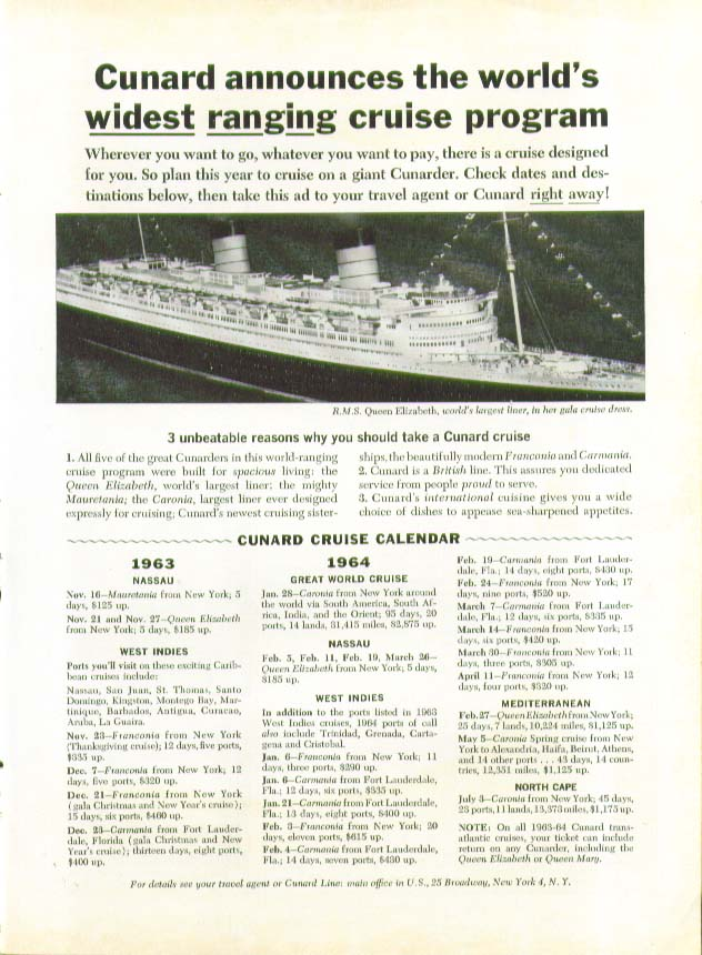 Image for World's widest ranging cruise program R M S Queen Elizabeth Cunard ad 11 1963