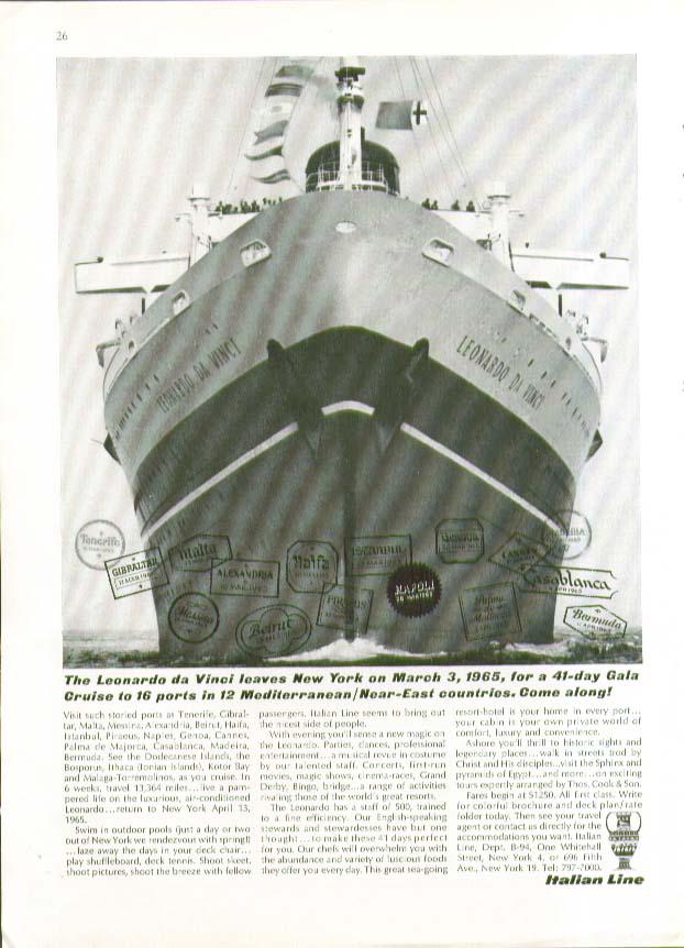 Image for S S Leonardo Da Vincio leaves New York for 41-day Cruise Italian Line ad 1964