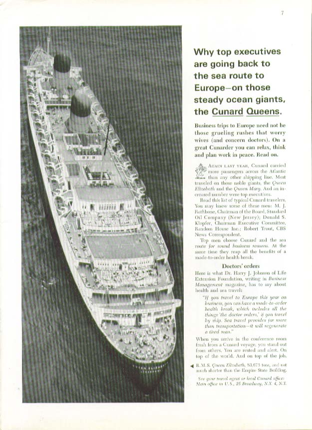 Why top executives are going the sea route R M S Queen Elizabeth Cunard ad 1964