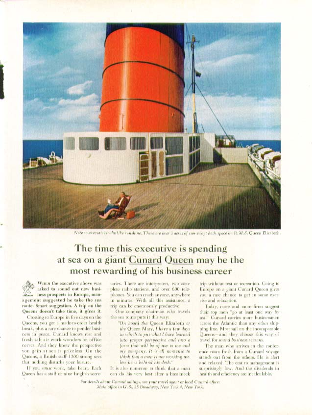 Image for The time this executive is spending on R M S Queen Elizabeth Cunard ad 1964