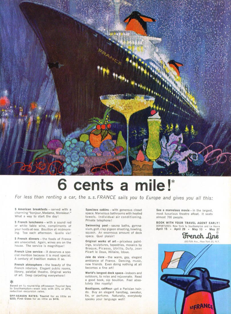 6 cents a mile! S S France French Line ad 1965