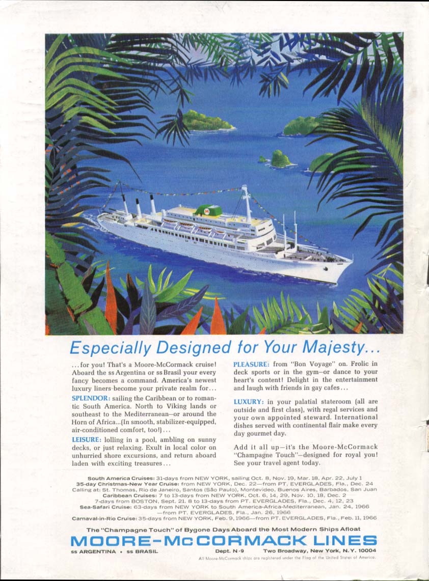 Image for For Your Majesty Moore-McCormack S S Brasil ad 1965