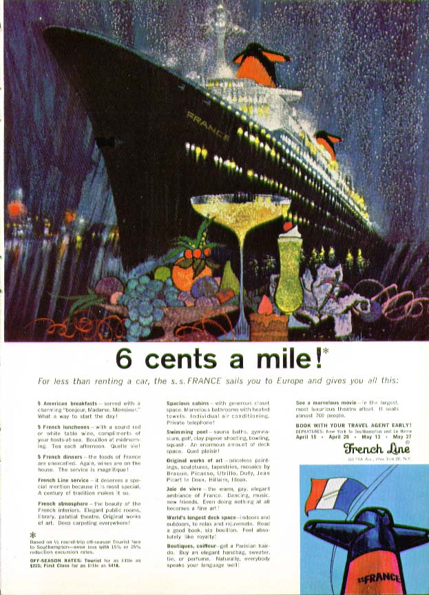 6 cents a mile! S S France sails to Europe French Line ad 1965