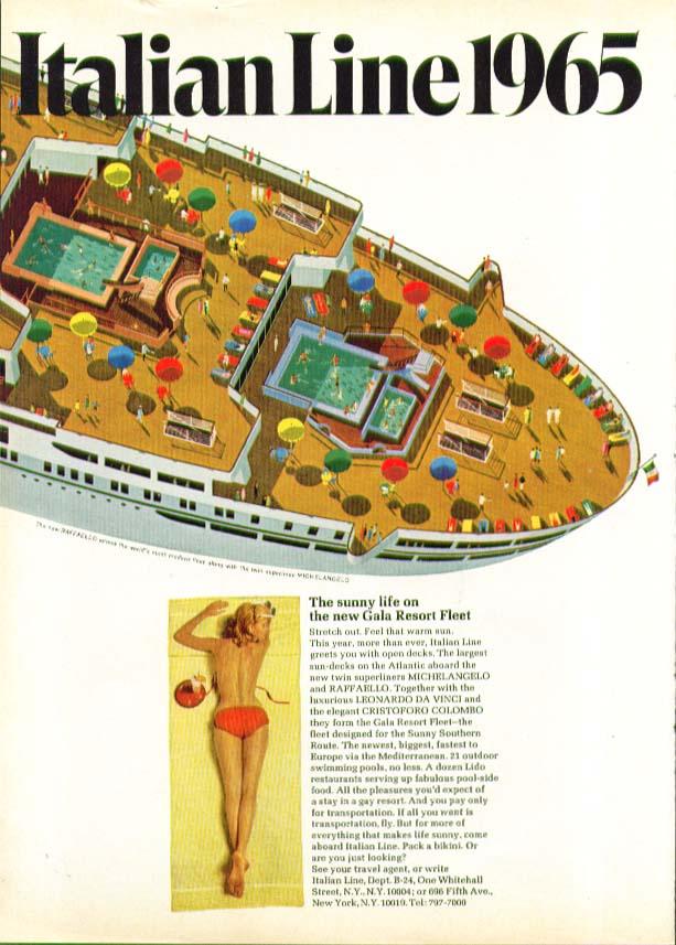 Image for The sunny life on the new Gala Resort Fleet S S Rafaello Italian Line ad 1965