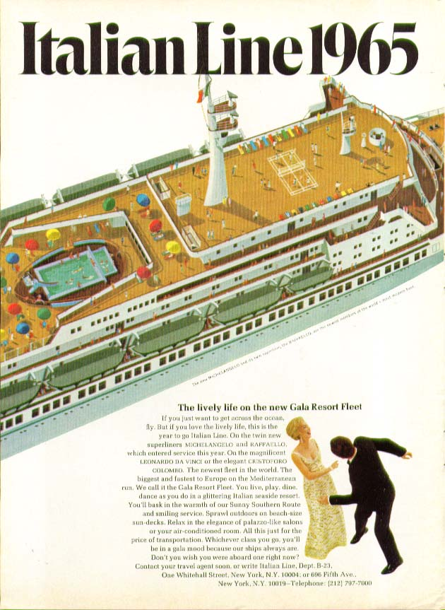 Image for The lively life on Gala Resort Fleet S S Michelangelo Italian Line ad 1965