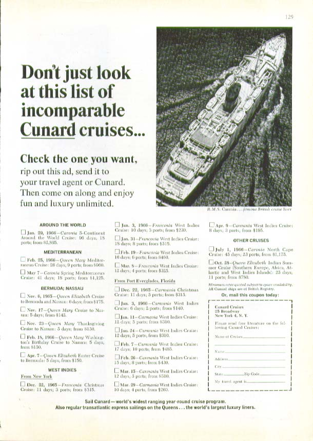 Don't just look at this list R M S Caronia Cunard ad 1965