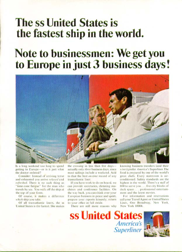 S S United States fastest ship afloat to Europe in 3 business days ad 1966
