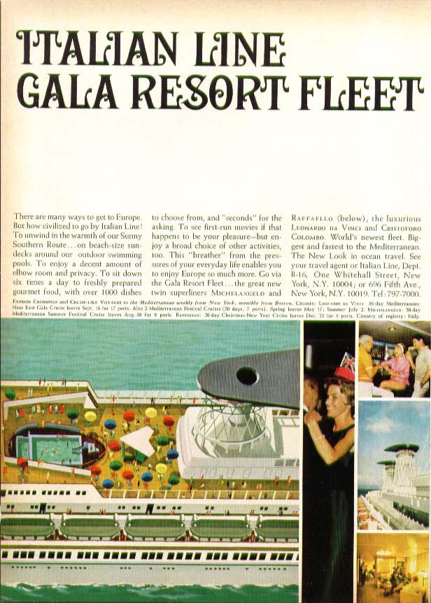 Italian Line Gala Resort Fleet S S Rafaello ad many ways to Europe 1966