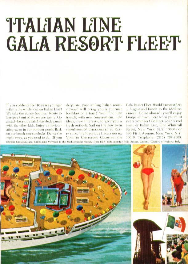 Image for Italian Line Gala Resort Fleet S S Rafaello ad feel 10 years younger 1966