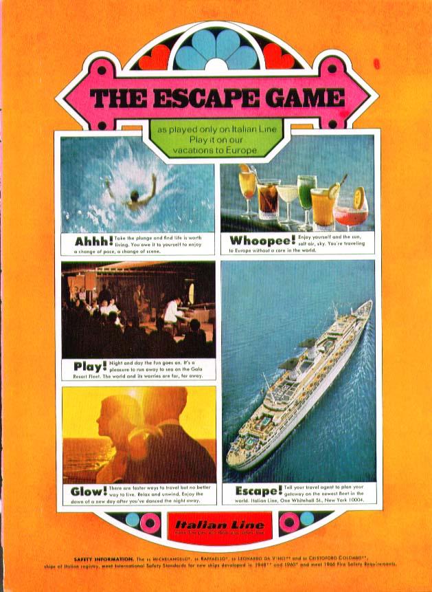 Image for The Escape Game S S Michelangelo Italian Line ad 1969