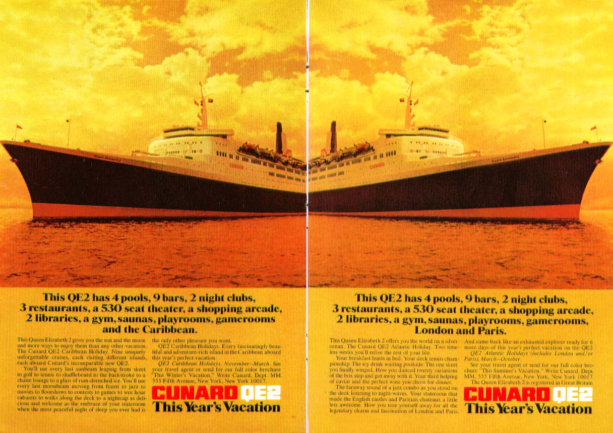 Image for This QE2 has the Caribbean This QE2 has London & Paris Cunard ad 1970