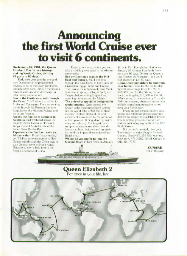 Announcing the first World Cruise ever to visit 6 continents QE2 Cunard ad 1980