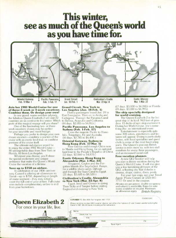 This winter see as much of the QE2's world as you have time for Cunard ad 1980