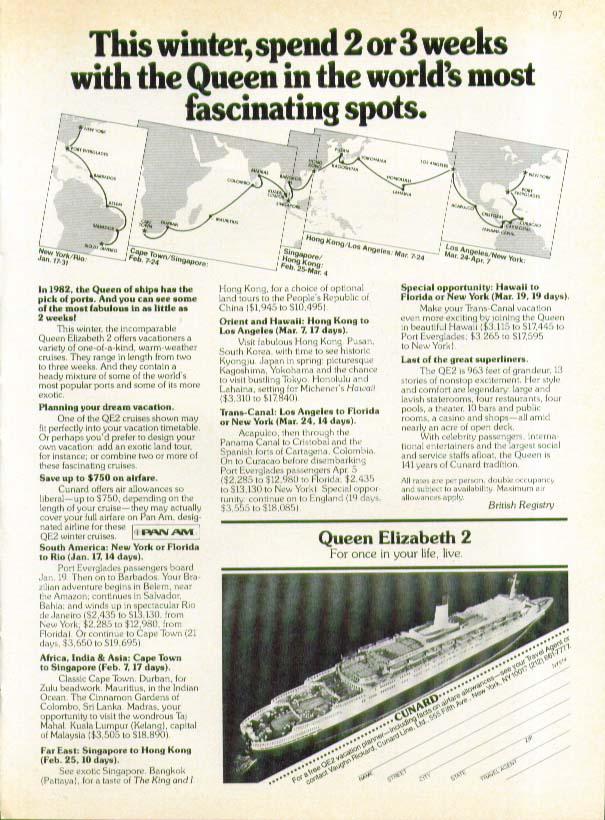 This winter spend 2 or 3 weeks with the QE2 in fascinating spots Cunard ad 1981