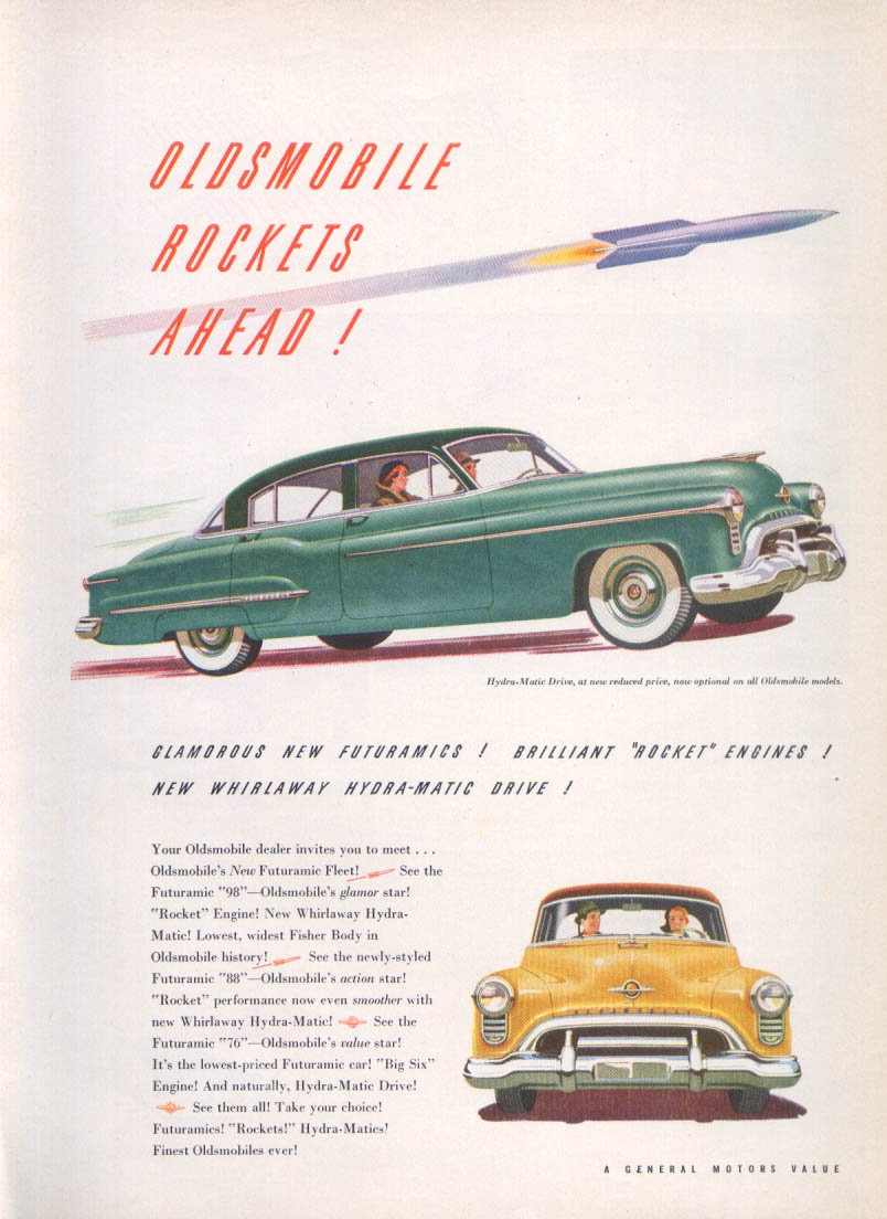 Image for Rockets Ahead Oldsmobile 98 ad 1950 Time