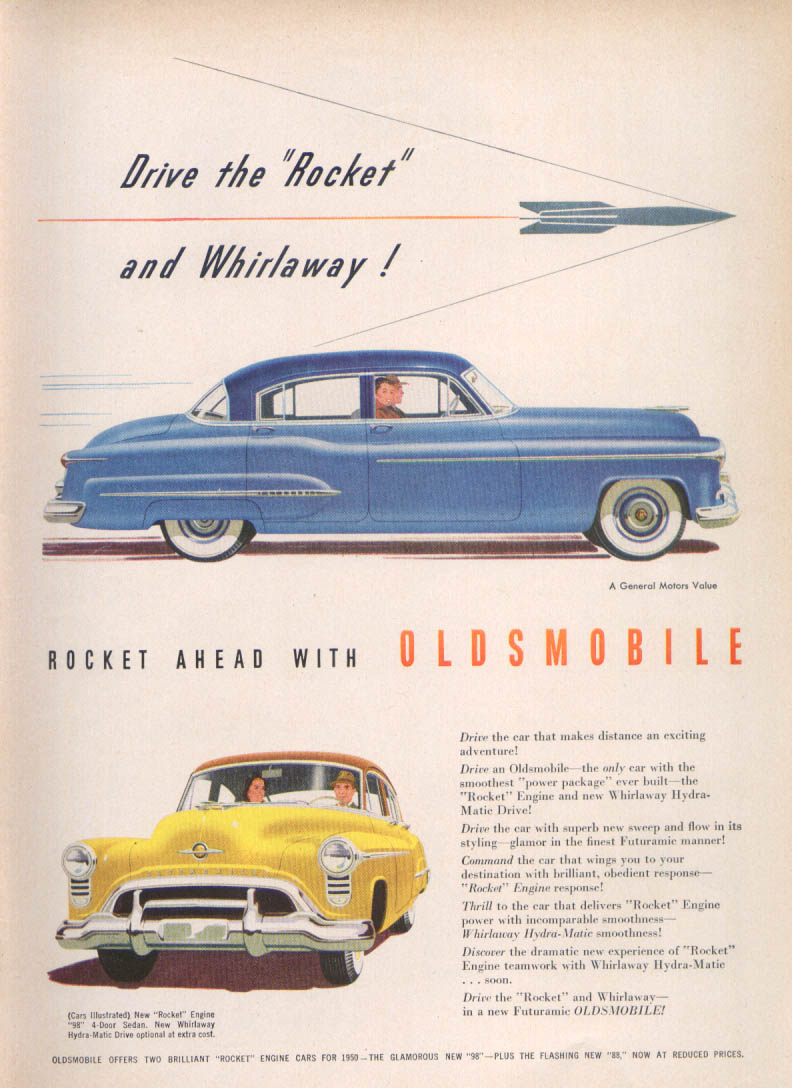 Image for Drive the Rocket and Whirlaway Oldsmobile 98 ad 1950