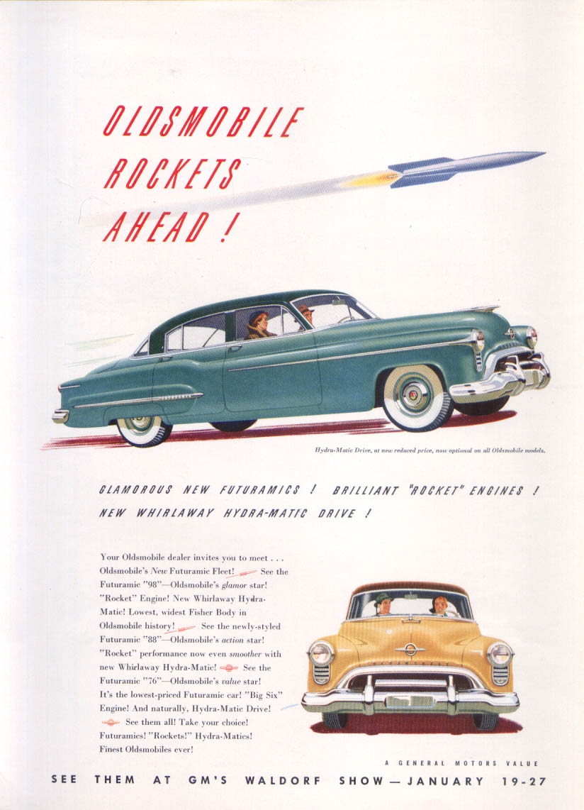 Image for Rockets Ahead Oldsmobile 98 ad 1950 New Yorker