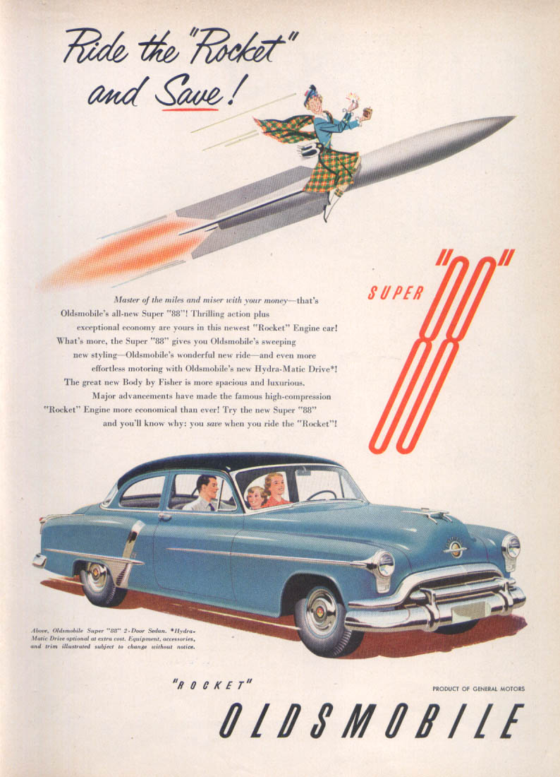 Image for Ride the Rocket and Save Oldsmobile Super 88 ad 1951 Time
