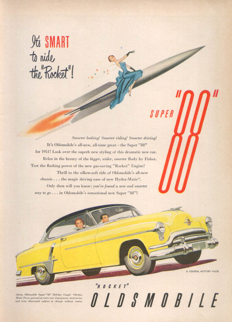 Image for Smart to ride the Rocket Oldsmobile Super 88 ad 1951