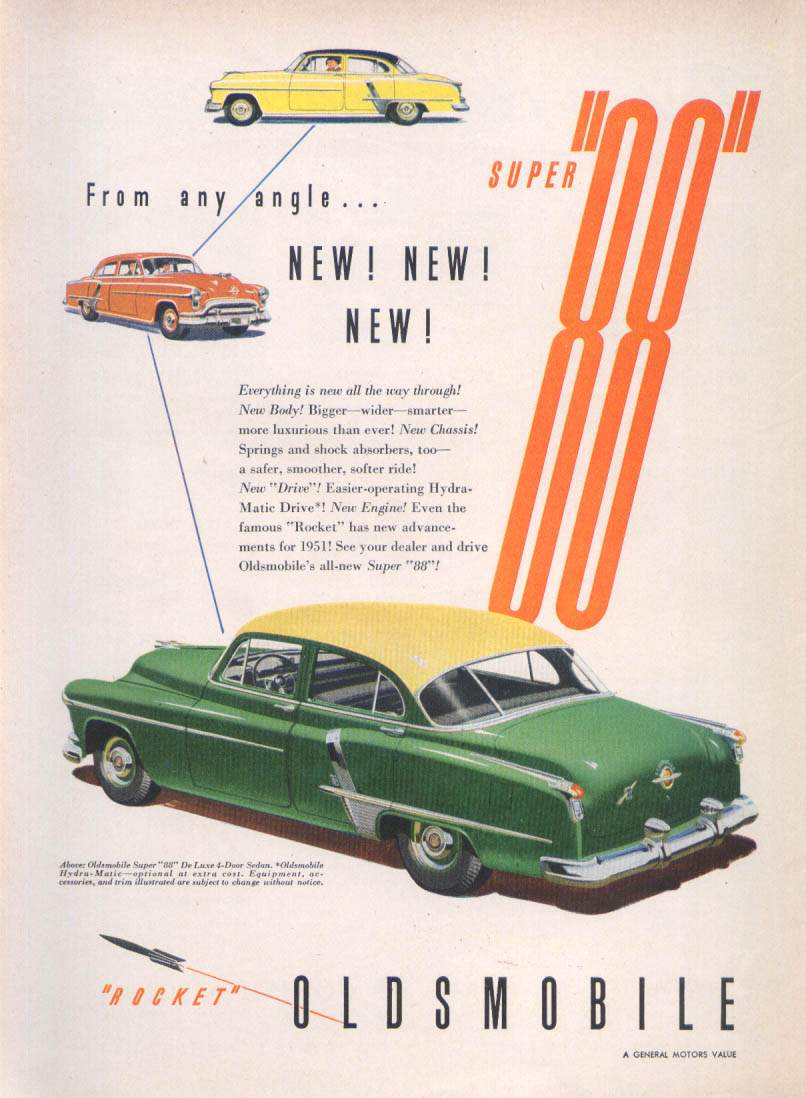 Image for From any angle New! Oldsmobile Super 88 ad 1951