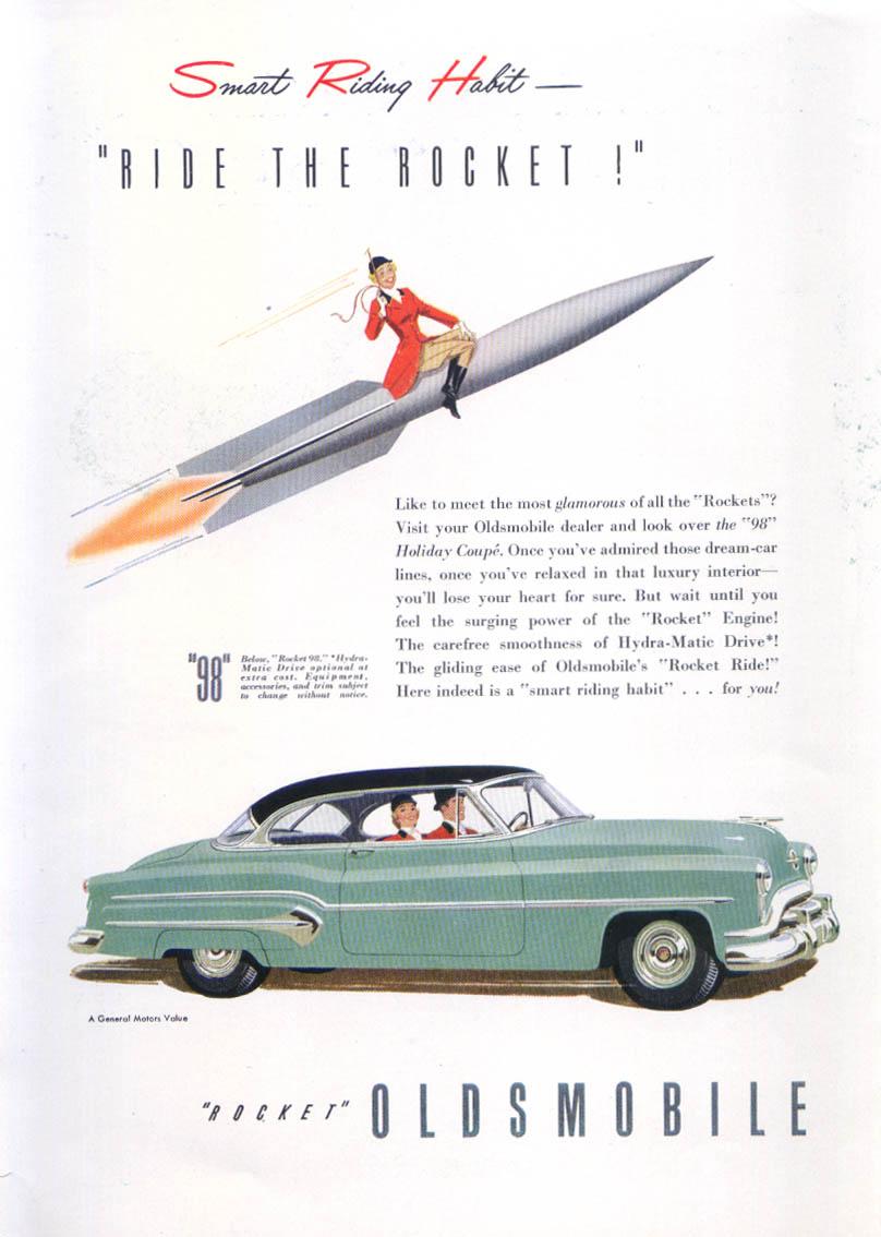 Image for Smart Riding Habit Ride Rocket Oldsmobile 98 ad 1951