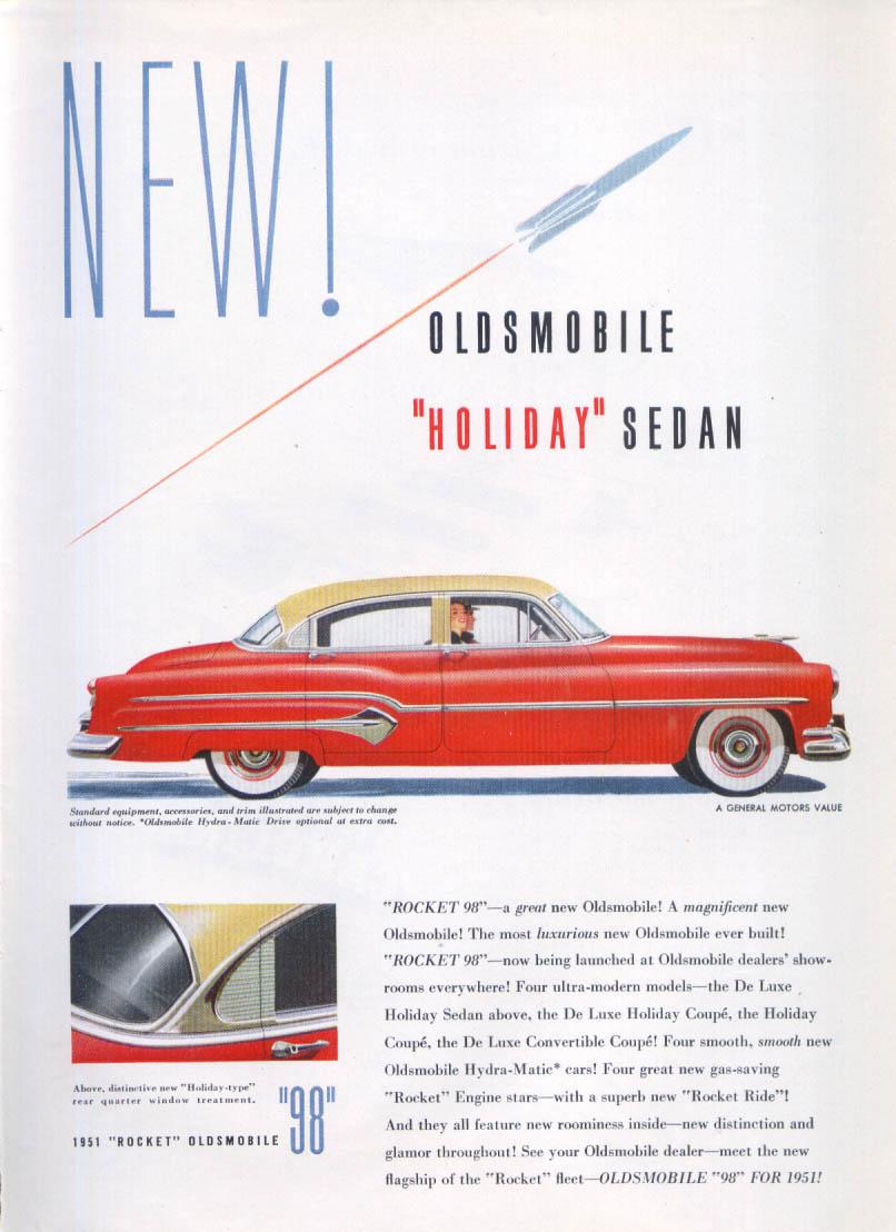 Image for Holiday Sedan Oldsmobile Rocket 98 ad 1951